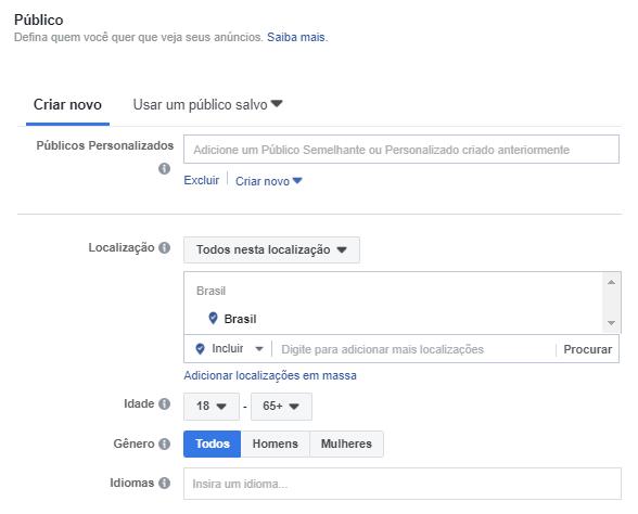 Criar Campanha no Facebook - Passo 2.1