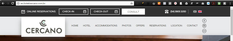 Site Hotel Cercano, disponível em dois idiomas