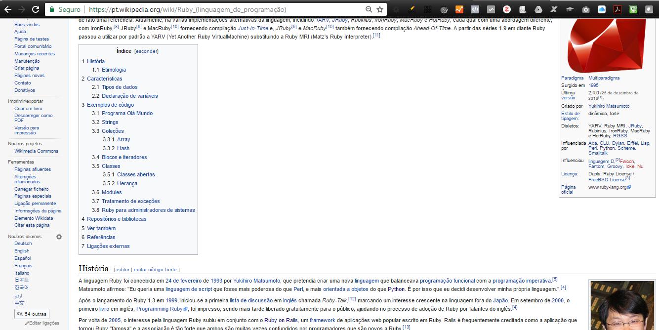 Wikipedia, artigo sobre a Linguagem de Programação Ruby, disponível em vários idiomas